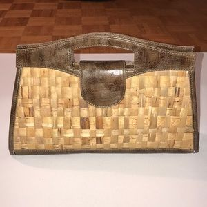 Limited NWT Straw and Leather Clutch